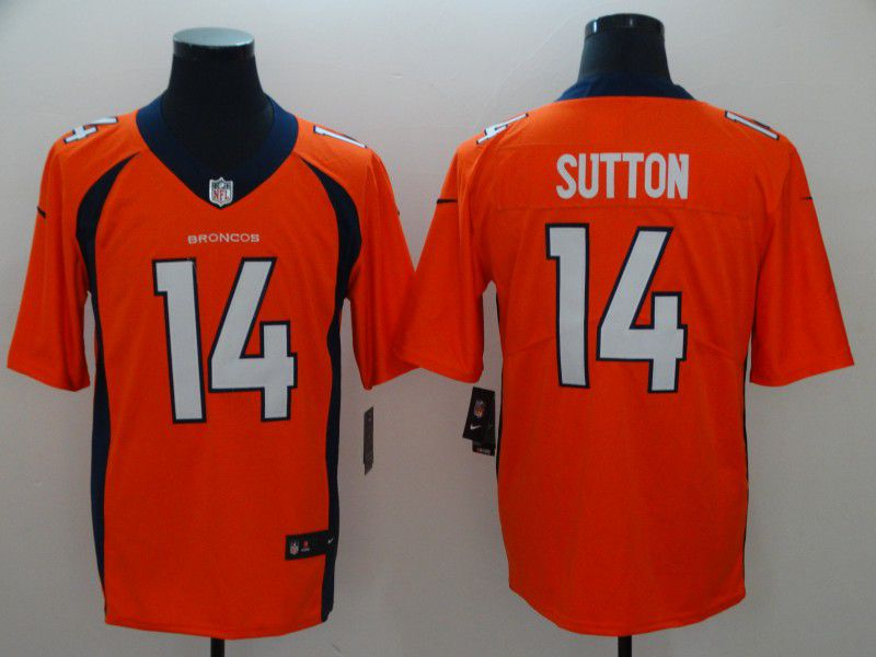 Men Denver Broncos 14 Sutton Orange Nike Vapor Untouchable Limited Player NFL Jerseys