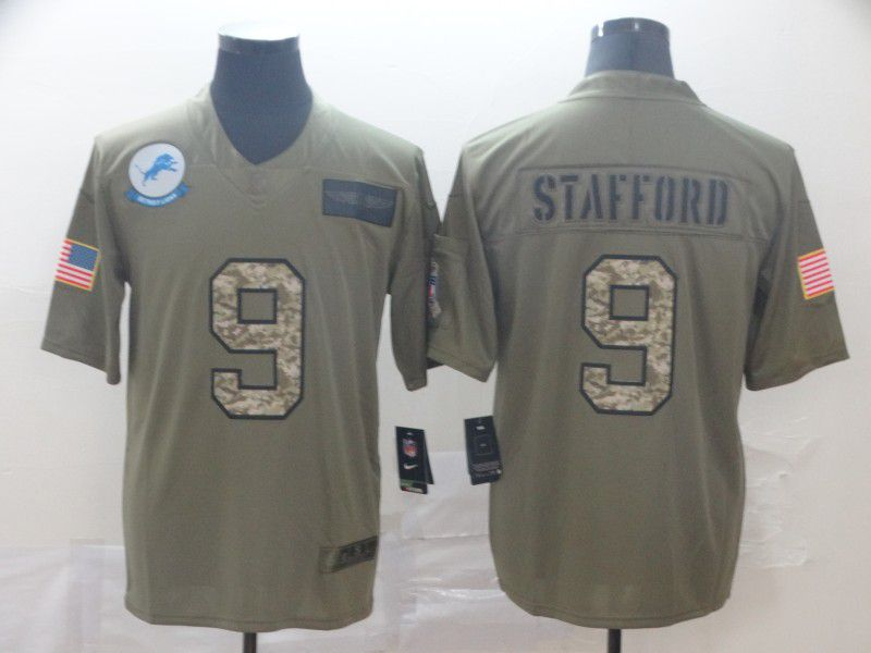 Men Detroit Lions 9 Stafford Nike 2019 Olive Camo Salute to Service Limited NFL Jerseys