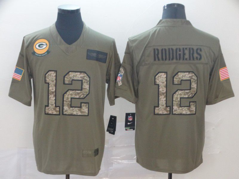 Men Green Bay Packers 12 Rodgers Nike 2019 Olive Camo Salute to Service Limited NFL Jerseys
