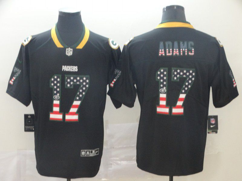 Men Green Bay Packers 17 Adams Nike USA Flag Fashion Black Color Rush Limited Jersey