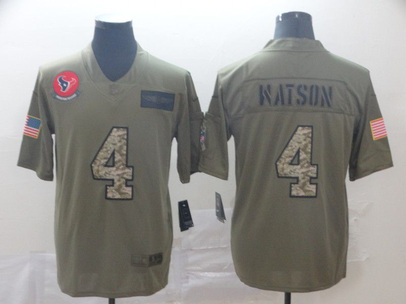 Men Houston Texans 4 Watson Nike 2019 Olive Camo Salute to Service Limited NFL Jerseys