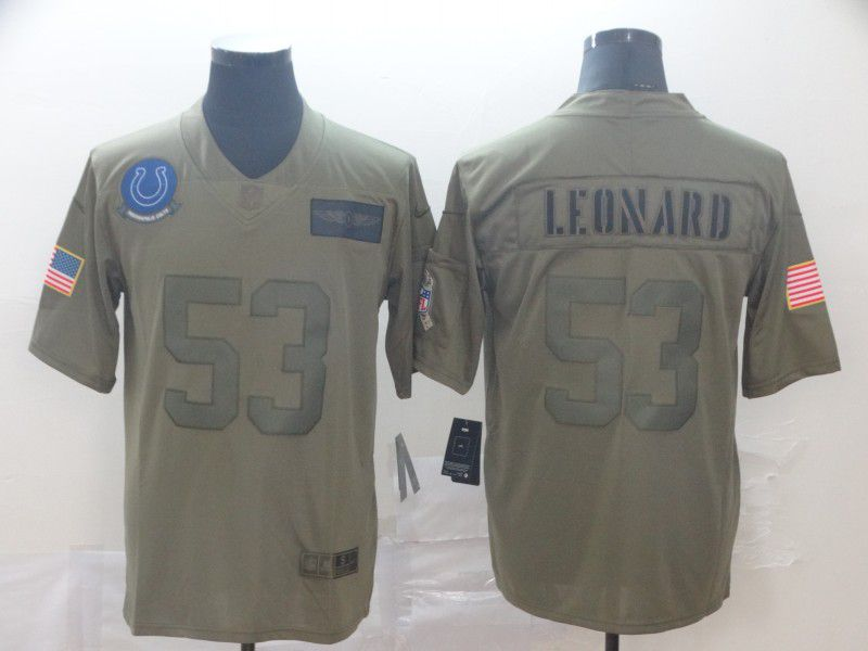 Men Indianapolis Colts 53 Leonard Nike Camo 2019 Salute to Service Limited NFL Jerseys