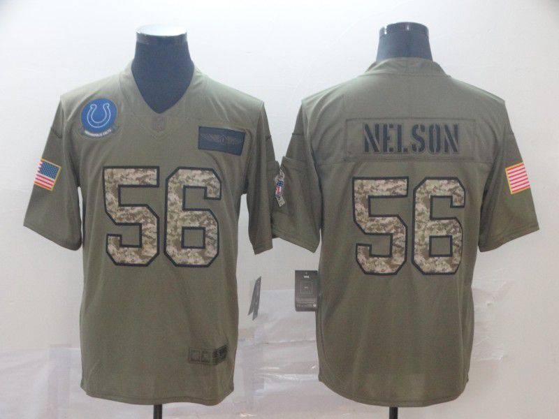 Men Indianapolis Colts 56 Nelson Nike 2019 Olive Camo Salute to Service Limited NFL Jerseys