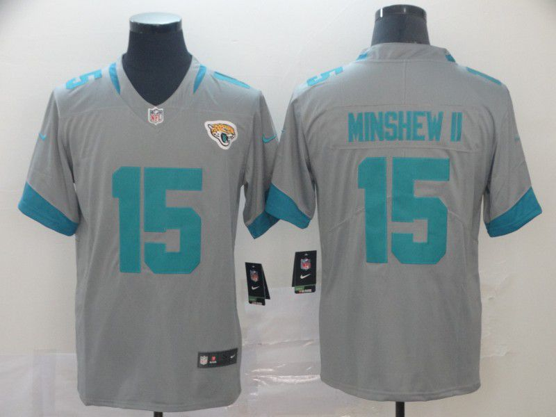 Men Jacksonville Jaguars 15 Minshew ii Grey Nike Vapor Untouchable Limited Player NFL Jerseys
