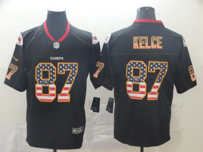 Men Kansas City Chiefs 87 Kelce Nike USA Flag Fashion Black Color Rush Limited Jersey