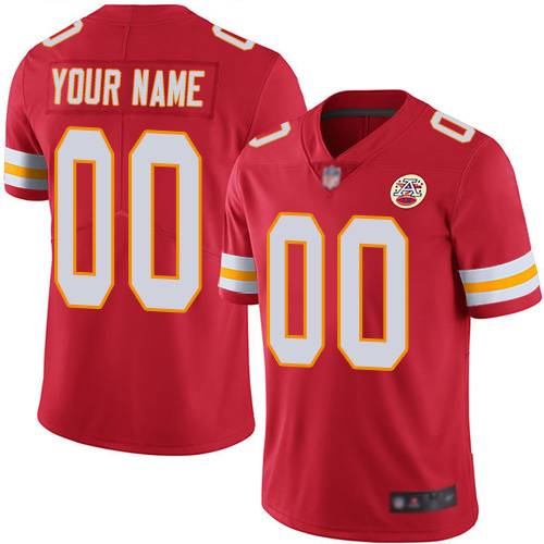 Men Kansas City Chiefs Customized Red Team Color Vapor Untouchable Custom Limited Football Jersey