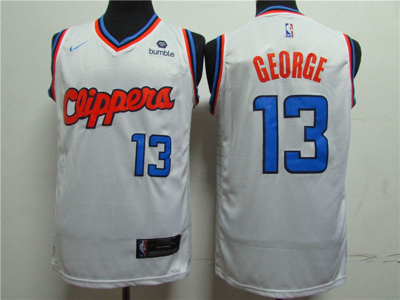 Men Los Angeles Clippers 13 George White Game Nike NBA Jerseys1