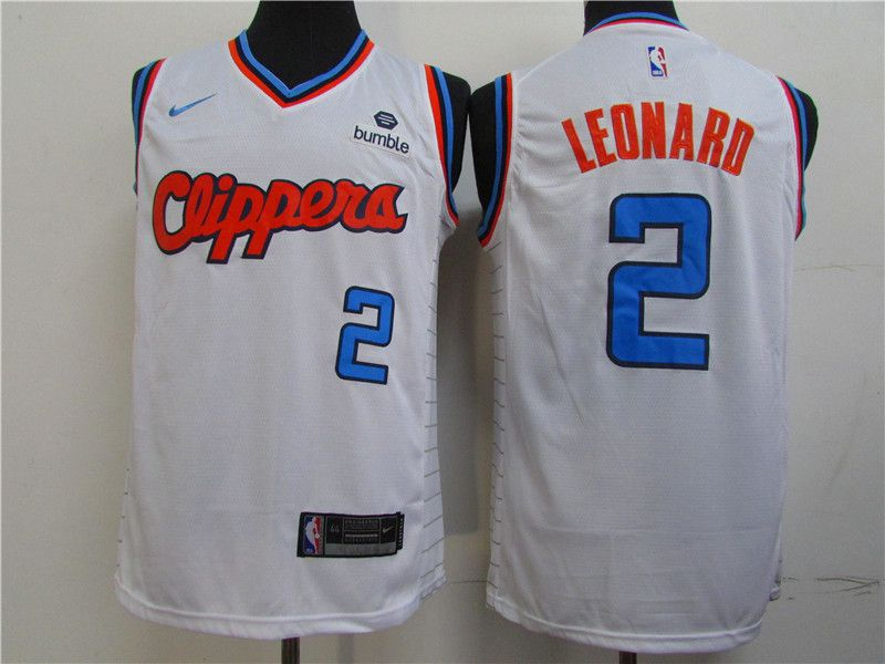 Men Los Angeles Clippers 2 Leonard White Game Nike NBA Jerseys1