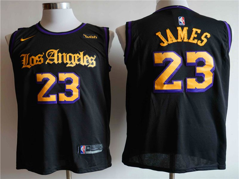 Men Los Angeles Lakers 23 James Black Game Nike NBA Jerseys