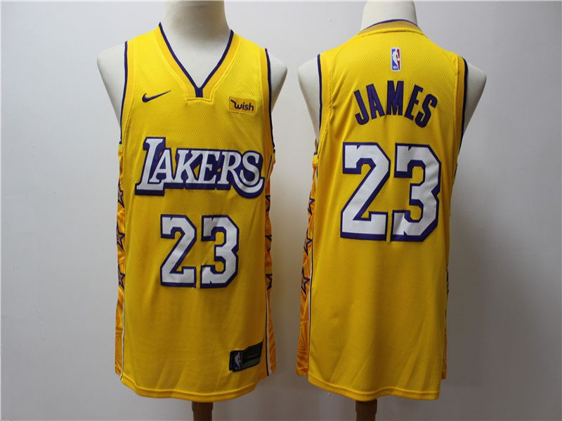 Men Los Angeles Lakers 23 James Yellow Game Nike NBA Jerseys