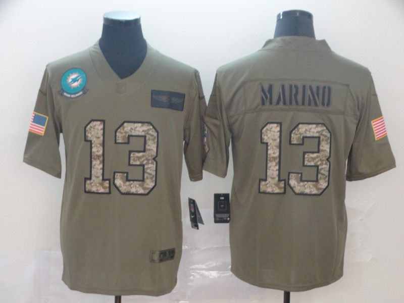 Men Miami Dolphins 13 Marino Nike 2019 Olive Camo Salute to Service Limited NFL Jerseys