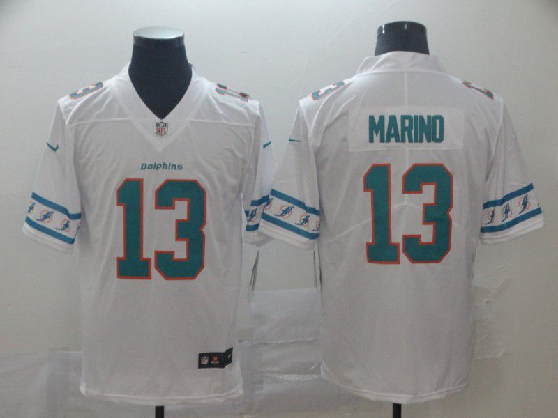 Men Miami Dolphins 13 Marino White team logo cool edition NFL Jerseys