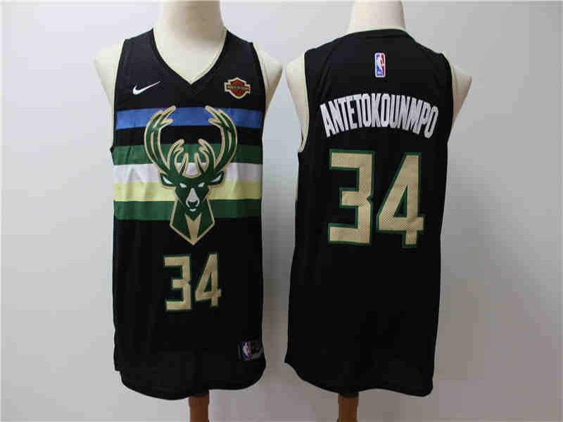 Men Milwaukee Bucks 34 Antetokounmp Black Game Nike NBA Jerseys