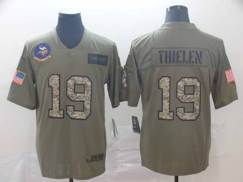 Men Minnesota Vikings 19 Thielen Nike 2019 Olive Camo Salute to Service Limited NFL Jerseys