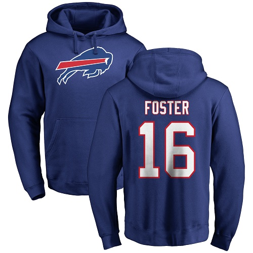 Men NFL Buffalo Bills 16 Robert Foster Royal Blue Name and Number Logo Pullover Hoodie Sweatshirt