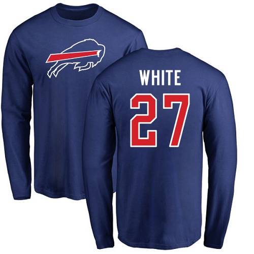 Men NFL Buffalo Bills 27 Tre Davious White Royal Blue Name and Number Logo Long Sleeve T Shirt