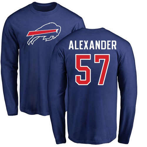 Men NFL Buffalo Bills 57 Lorenzo Alexander Royal Blue Name and Number Logo Long Sleeve T Shirt