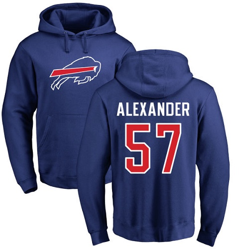 Men NFL Buffalo Bills 57 Lorenzo Alexander Royal Blue Name and Number Logo Pullover Hoodie Sweatshirt