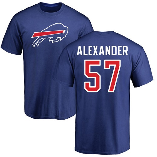 Men NFL Buffalo Bills 57 Lorenzo Alexander Royal Blue Name and Number Logo T Shirt