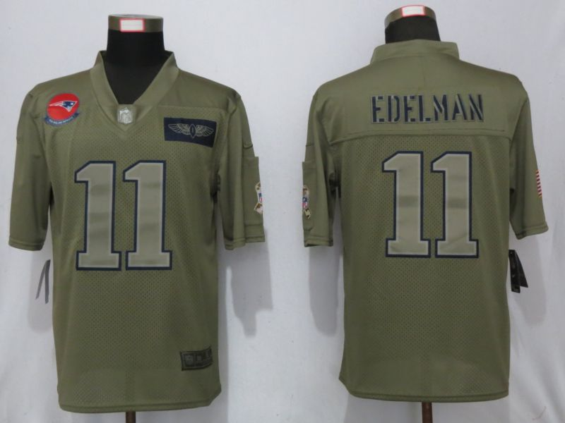 Men New England Patriots 11 Edelman Nike Camo 2019 Salute to Service Limited NFL Jerseys