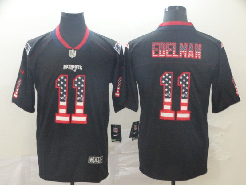 Men New England Patriots 11 Edelman Nike USA Flag Fashion Black Color Rush Limited Jersey