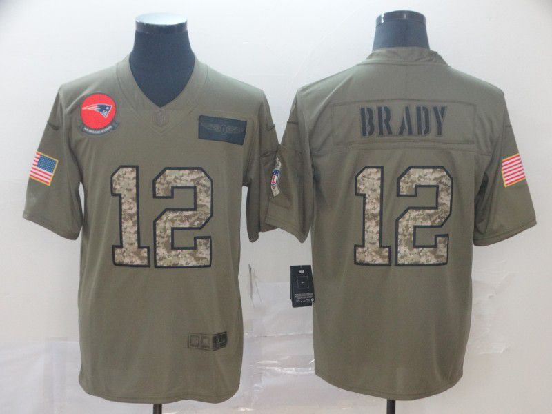 Men New England Patriots 12 Brady Nike 2019 Olive Camo Salute to Service Limited NFL Jerseys