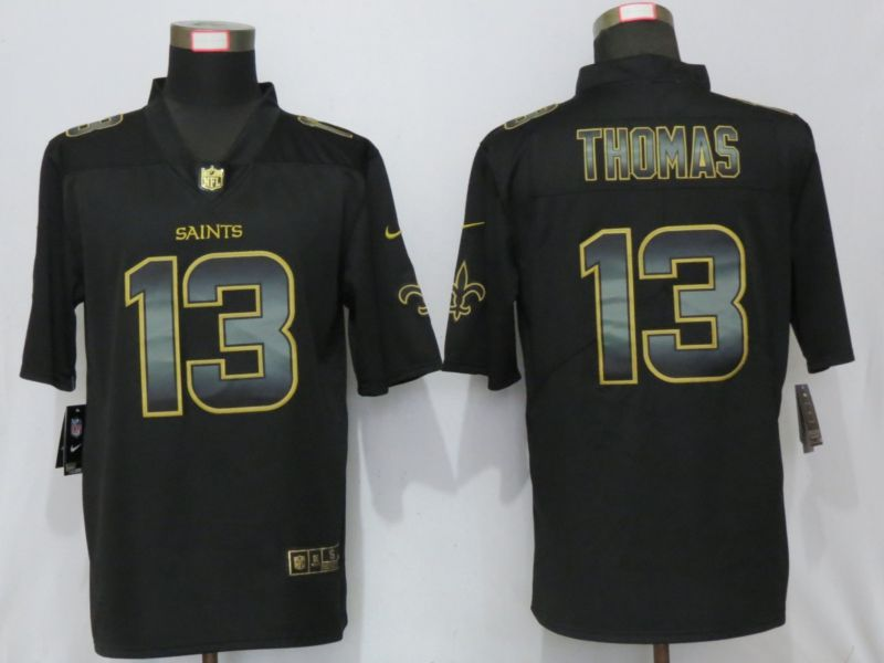 Men New Orleans Saints 13 Thomas Black Gold Nike Stitched Vapor Untouchable Limited NFL Jersey