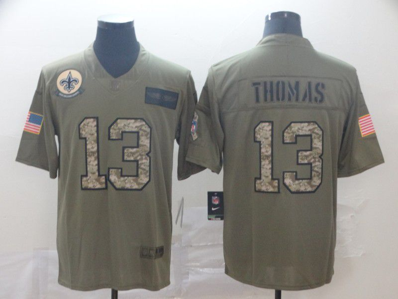 Men New Orleans Saints 13 Thomas Nike 2019 Olive Camo Salute to Service Limited NFL Jerseys