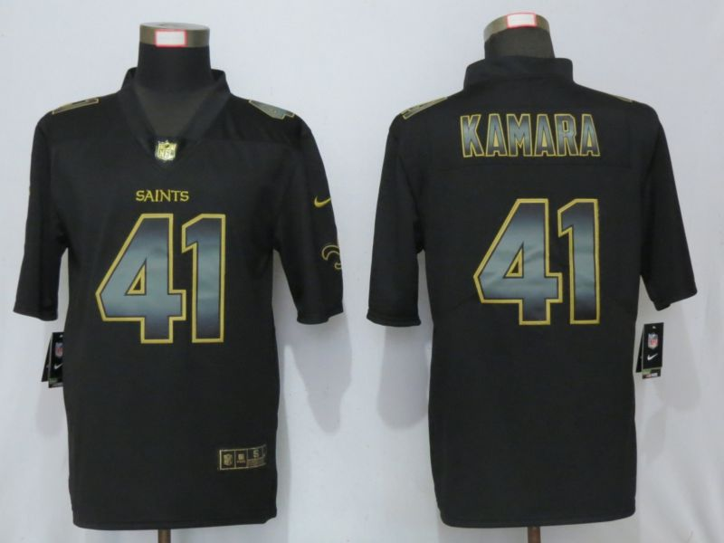 Men New Orleans Saints 41 Kamara Black Gold Nike Stitched Vapor Untouchable Limited NFL Jersey
