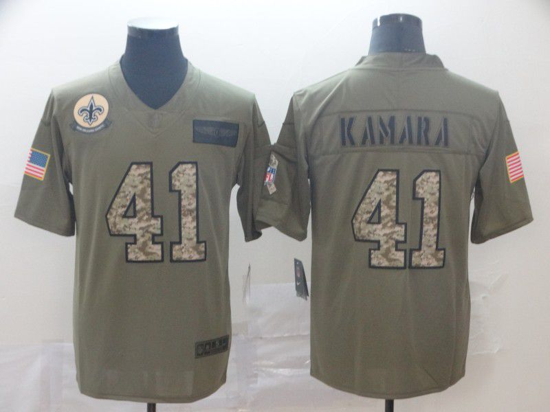 Men New Orleans Saints 41 Kamara Nike 2019 Olive Camo Salute to Service Limited NFL Jerseys (2)