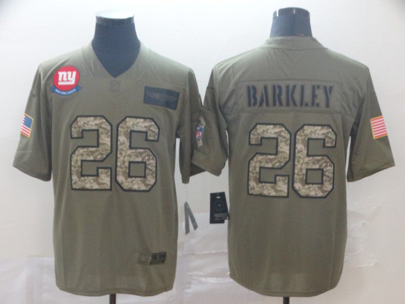 Men New York Giants 26 Barkley Nike 2019 Olive Camo Salute to Service Limited NFL Jerseys