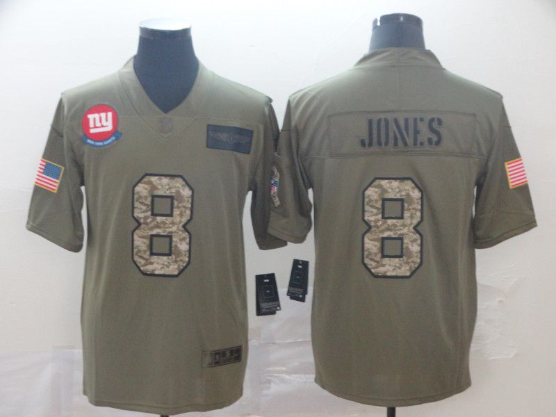 Men New York Giants 8 Jones Nike 2019 Olive Camo Salute to Service Limited NFL Jerseys