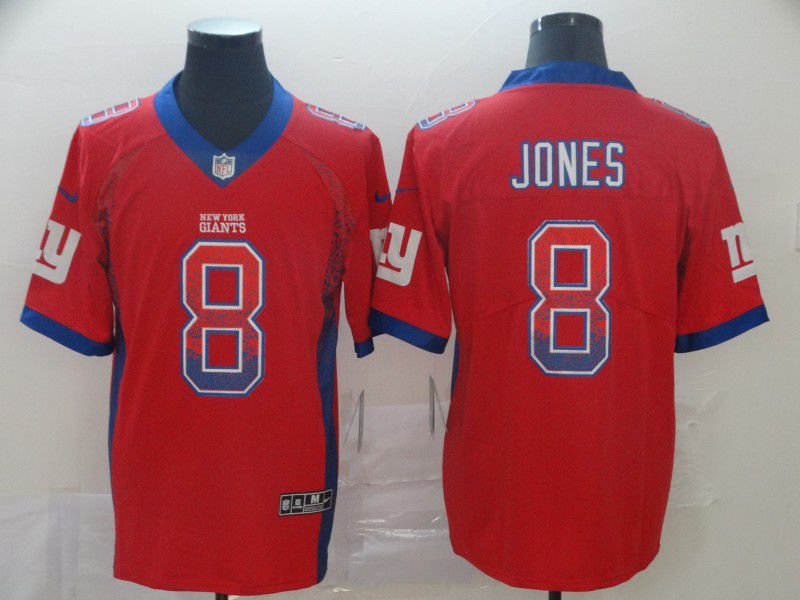 Men New York Giants 8 Jones Red Nike Drift Fashion Color Rush Limited Jersey