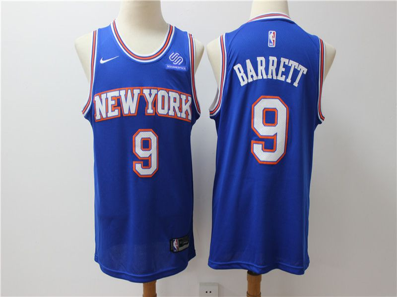 Men New York Knicks 9 Barrett Blue Game Nike NBA Jerseys