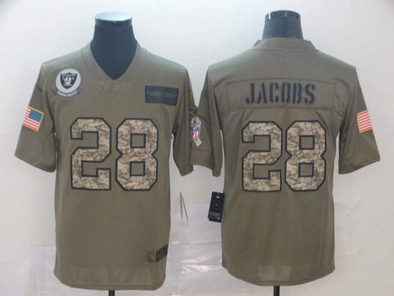 Men Oakland Raiders 28 Jacobs Nike 2019 Olive Camo Salute to Service Limited NFL Jerseys