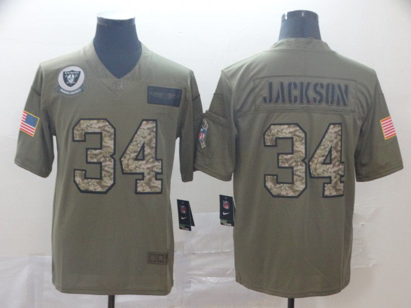 Men Oakland Raiders 34 Jackson Nike 2019 Olive Camo Salute to Service Limited NFL Jerseys