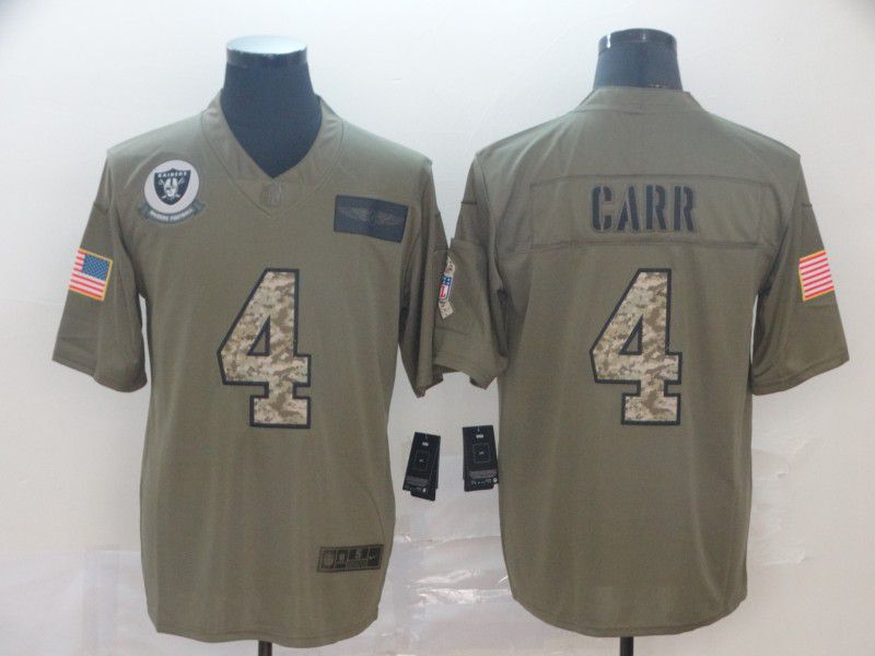 Men Oakland Raiders 4 Carr Nike 2019 Olive Camo Salute to Service Limited NFL Jerseys