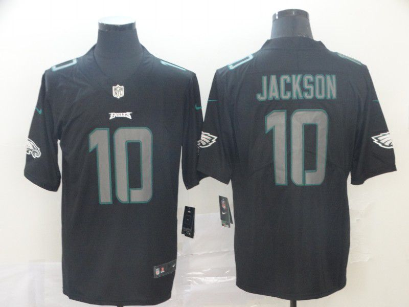Men Philadelphia Eagles 10 Jackson Nike Fashion Impact Black Color Rush Limited Jersey
