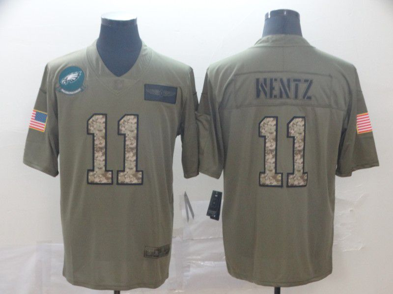 Men Philadelphia Eagles 11 Wentz Nike 2019 Olive Camo Salute to Service Limited NFL Jerseys