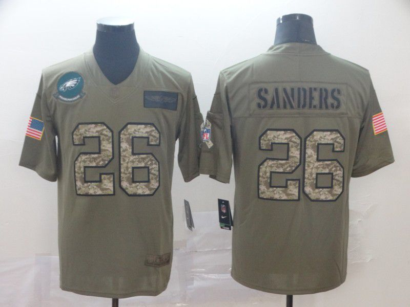 Men Philadelphia Eagles 26 Sanders Nike 2019 Olive Camo Salute to Service Limited NFL Jerseys