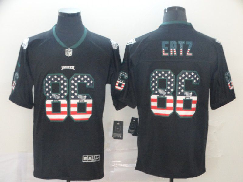 Men Philadelphia Eagles 86 Ertz Black Nike USA Flag Fashion Black Color Rush Limited Jersey