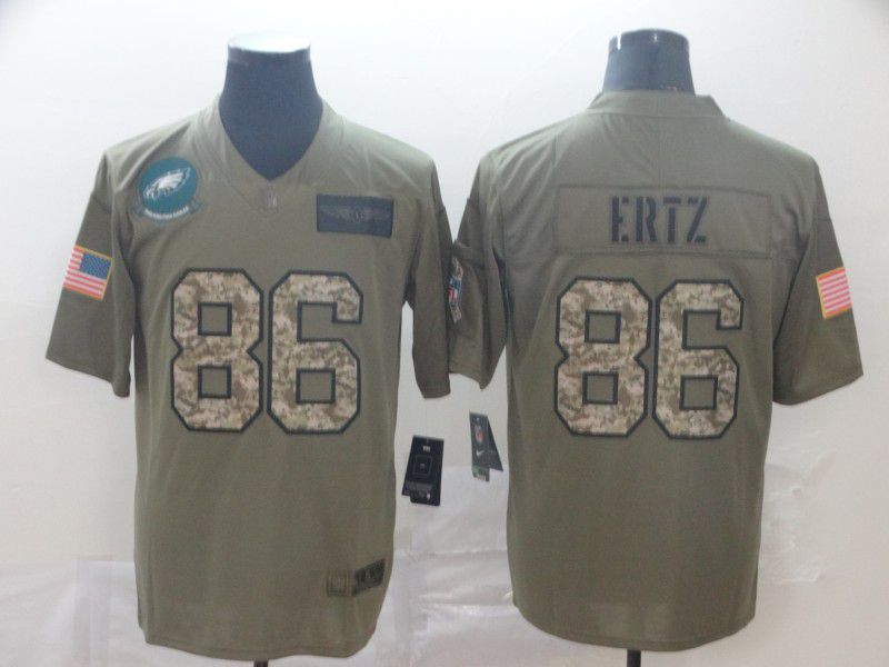 Men Philadelphia Eagles 86 Ertz Nike 2019 Olive Camo Salute to Service Limited NFL Jerseys