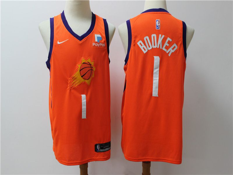 Men Phoenix Suns 1 Booker Orange Game Nike NBA Jerseys