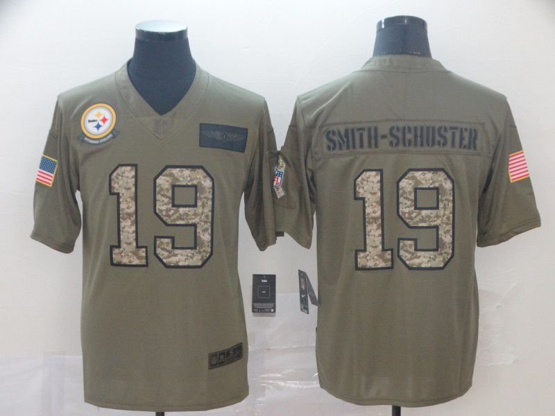Men Pittsburgh Steelers 19 Smith-schoster Nike 2019 Olive Camo Salute to Service Limited NFL Jerseys