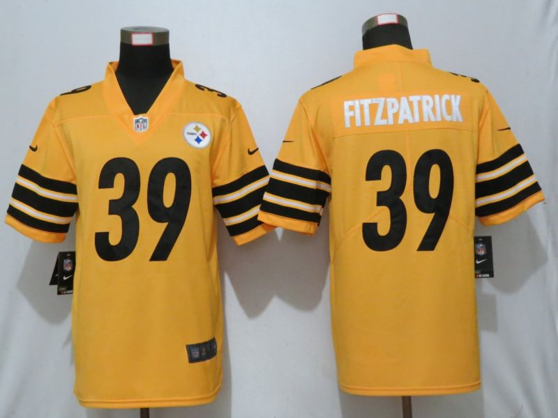 Men Pittsburgh Steelers 39 Fitzpatrick 2019 Vapor Untouchable Nike Gold Inverted Legend Jersey