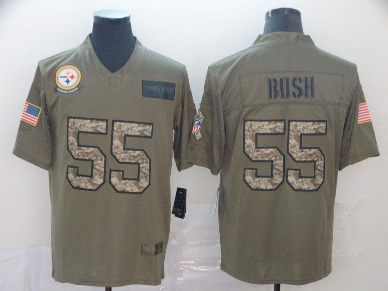 Men Pittsburgh Steelers 55 Bush Nike 2019 Olive Camo Salute to Service Limited NFL Jerseys