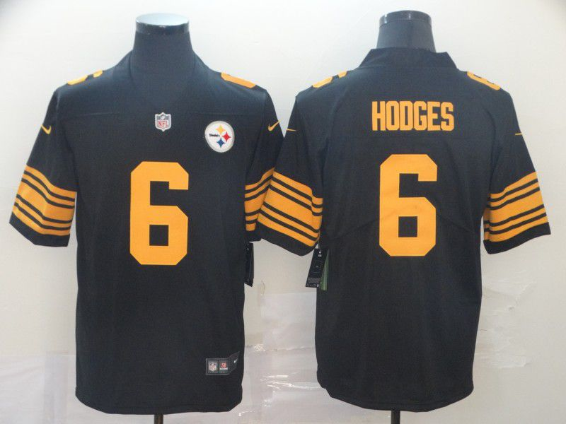 Men Pittsburgh Steelers 6 Hodges Black Nike Color Rush Limited NFL Jerseys