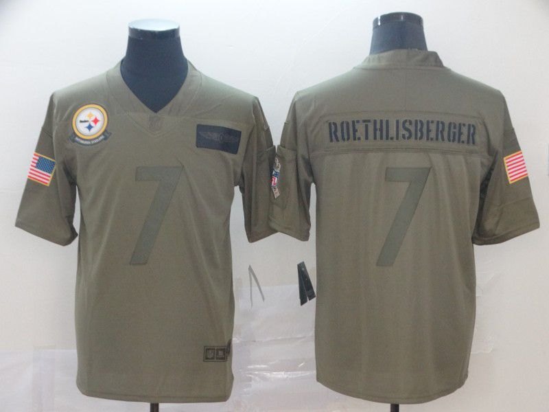 Men Pittsburgh Steelers 7 Roethlisberger Nike Camo 2019 Salute to Service Limited NFL Jerseys