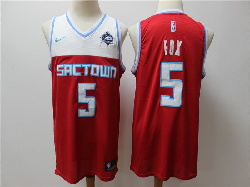 Men Sacramento Kings 5 Fox Red Game Nike NBA Jerseys