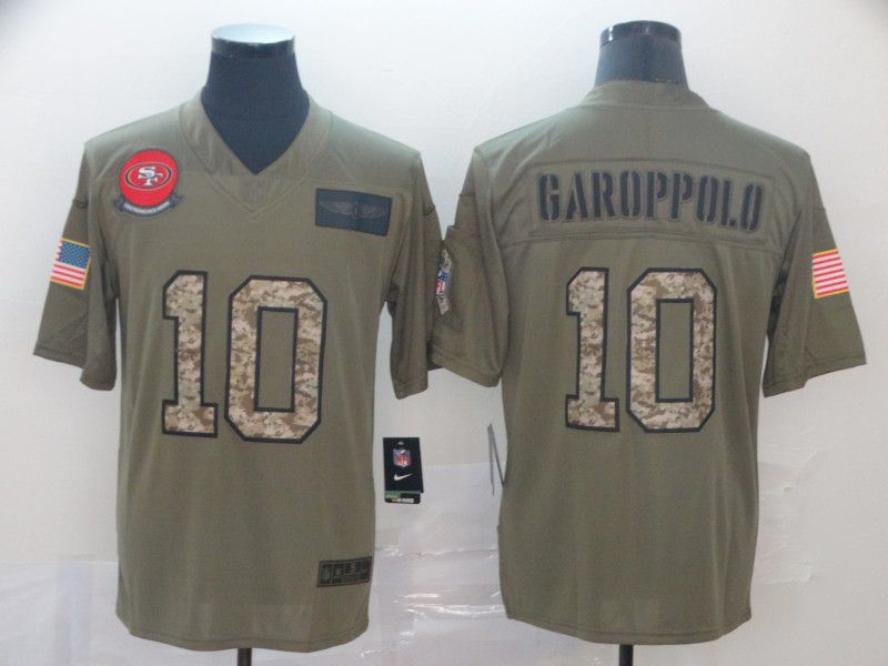 Men San Francisco 49ers 10 Garoppolo Nike 2019 Olive Camo Salute to Service Limited NFL Jerseys